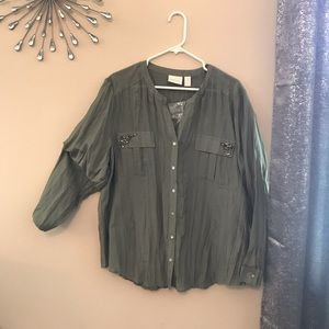 CHICO's SIZE 3 CRINKLED TEXTURE TOP NWT!